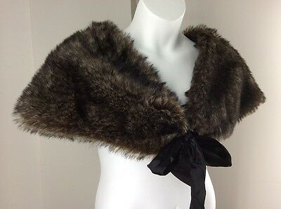 Toppers Brown Black Faux Fur Wrap Shawl Shrug Satin Bow Tie New With Tag