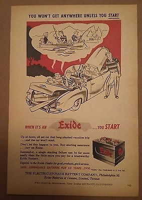 1950 Exide Battery Car Ad Dreaming about Fishing