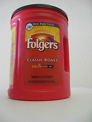 Large 48oz Empty Red Folgers Plastic Coffee Can Container Kitchen Storage