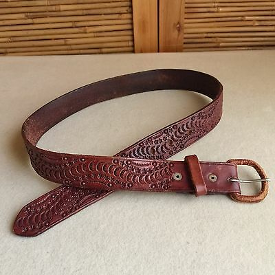 """Vintage 70s Tan TOOLED Cowhide LEATHER Mexico COWBOY Western BELT ~ 32"""" 34"""" 36"""""""