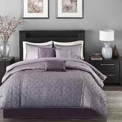 Luxury Bedding Comforter Set Queen Purple Decorative Pillow Bedroom Polyester7pc