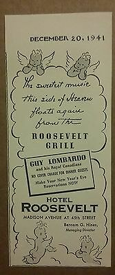 1941 Roosevelt Grill at Hotel Roosevelt Guy Lombardo Ad