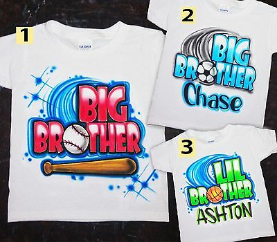 Airbrushed T-shirt Big Little Brother Basketball Soccer Baseball Sizes 2T - 3XL