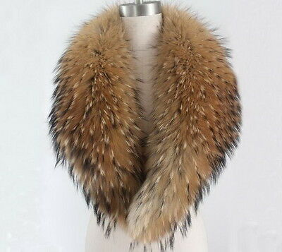100% Real Natural Raccoon Fur Collar Women's Coat Sweater Scarves Collar Raccoon