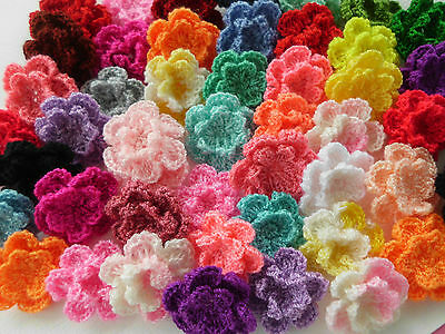 100! Double Crochet Wool Flowers  - Great Colour Mix Flower Embellishments!