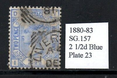 (Ref-9711) Great Britain 1880-83  2 1/2d Blue SG.157 Used Plate 23  Letters ID