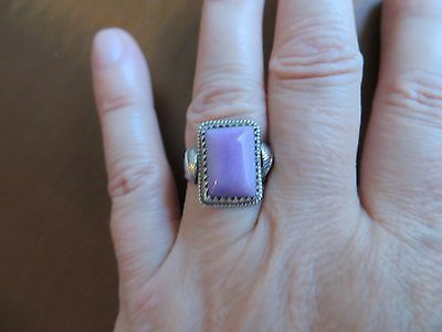 Native American Vintage  Navajo Sterling Silver Purple Stone Leafs Ring size 7