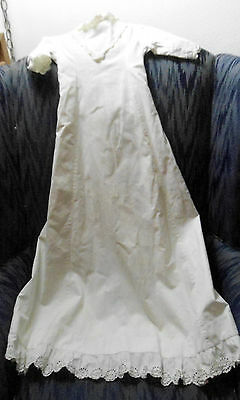 ANTIQUE/VINTAGE 36 IN LONG WHITE LINEN CHRISTENING GOWN SIMPLE BOW IN BACK 1900s