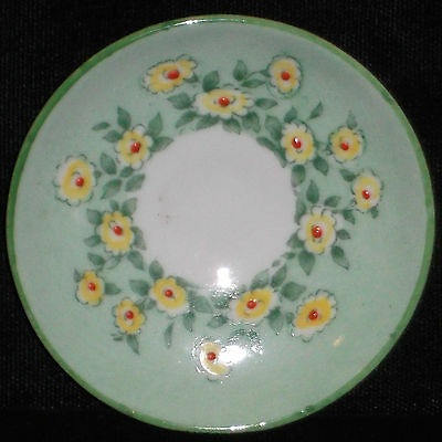 Vintage Crown Staffordshire Green Floral Mini / Miniature Saucer Only!!! Mint