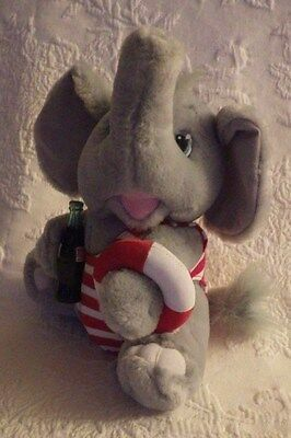 """Coca Cola Grey Elephant W/Swimsuit Outfit Red White Plush Stuffed Animal 9"""" Tall"""