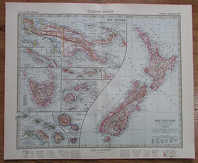 1926 Südsee Inseln Pacific Islands Kupferstich Alte Landkarte Karte Old Map
