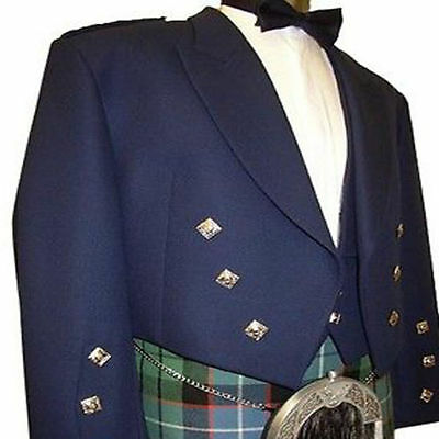 Blue Prince Charlie Kilt jacket Free Waistcoat Scottish Wedding Coat Custom