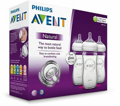 3 Philips AVENT Natural Glass Baby Bottles 240ml 1M+ Size 2 8oz