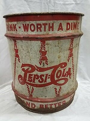 Large Rare Vintage 1940's Pepsi Cola 5c Double Dot Soda 10 Gallon Syrup Can Sign