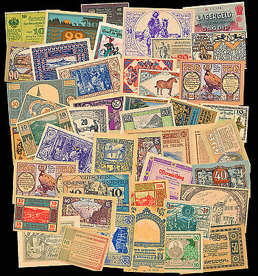 Great Lot of 50 Austrian Notgeld Notes - Assorted Notes - All aUNC and Better!