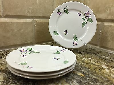 Lenox Lantana fine china - SPRING VIOLETS - set of 4 BREAD AND BUTTER PLATES