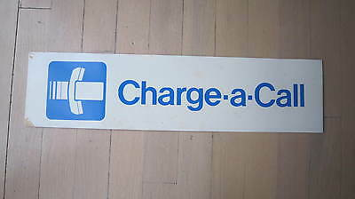 Vintage Telephone Phone Booth Charge a Call Metal Sign Clean Original