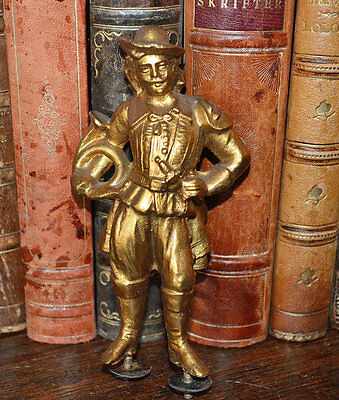 Antique French Figural Frenchman Cavalier Clock Statue Ormolu Finish