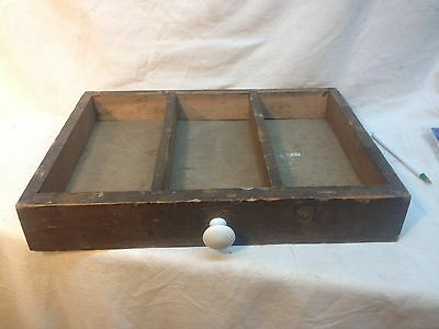 Vintage  Wood Printers Type Set Tray Letter Press Drawer box parts bin with knob