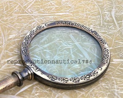 Handmade Antique Brass Magnifying Small Reading Magnifier Vintage Henry Decor G