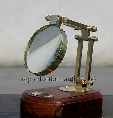 Solid Brass Tabletop Reading Magnifying Glass With Wooden Base KELVIN Magnifier