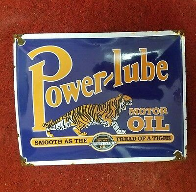 Power-Lube Motor Oil Porcelain Advertising Sign Gas And Oil