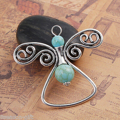 1PC Bohemian Sliver Tone Hollow Angel Alloy Pendant With Blue Imitation Stone