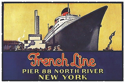 French Line Pier 88 Poster  12 x 18 - SS Normandie