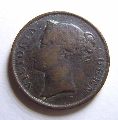 1845 BRITISH INDIA HALF CENT - East India Company Victoria Coin