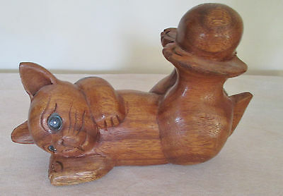 Hand Carved Cat On Back With Ball On Feet,  Made In Thailand