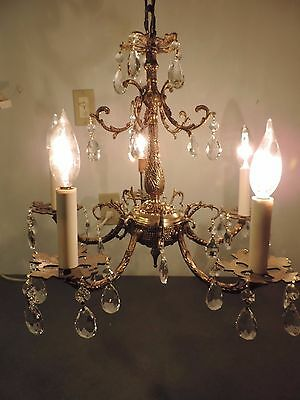 Vtg Made in Spain Brass Prism Glass Chandelier 5 Arm Lamp Mid century