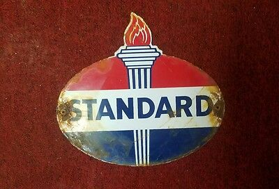 Standard Oil & Gasoline flame porcelain gas pump plate lubester sign Americana