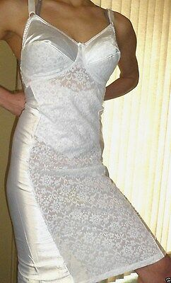 42 L Tight Satin Girdle Bra Full Slip One Piece Briefer Lace VTG Lingerie Sissy