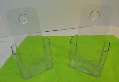 Set Of 2 Clear Plastic Counter Top Brochure Literature Display Racks  Holder