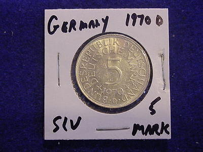 Germany - Federal Republic 5 Mark Silver Coin, 1971 J  FREE SHIP