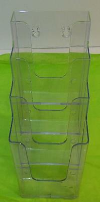 Clear Plastic 4 Tier Counter Top Brochure Literature Display Rack Holder