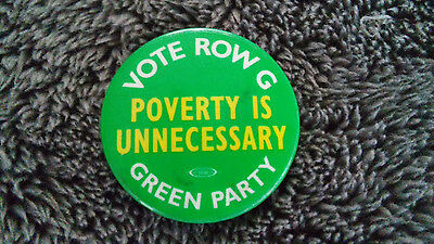 POVERTY IS UNNECESSARY Green Party GP US pin vintage political third party