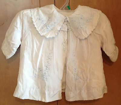 Antique Vintage Girls White With Blue Embroidery Dress Coat Baby/Toddler-PRETTY