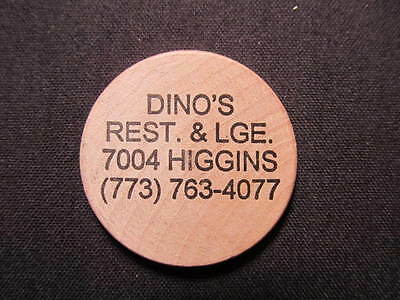 Chicago, Illinois Wooden Nickel token - Dino's Lounge Wood Nickel Drink Coin MIX