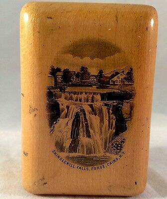 Mauchline Ware Stamp Box Shinglekill Falls Forge Cario New York 19thC Wood AAFA