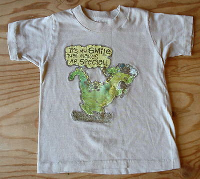 70s Vtg Dinosaur ITS MY SMILE THAT MAKES ME SPECIAL T-Shirt Kids Toddler Sz 5-6