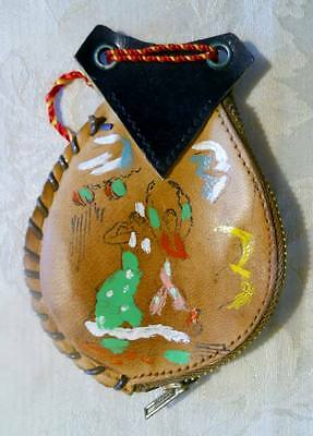 Vintage Handmade Tooled Leather Coin Holder Wallet Zippered Purse