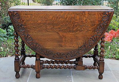 Antique English Barley Twist LARGE Drop Leaf Sofa or Breakfast Table Carved Top