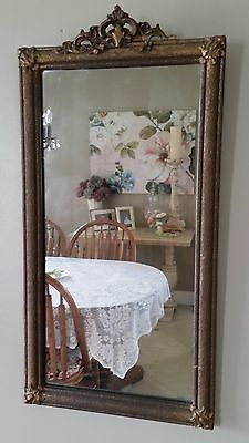 Antique Victorian Ornate Wall Mirror Gold Gesso Frame Shabby