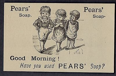Pears' Soap Trade Card~Engraving Of 3 Small Children~Have You Used Pears' Soap?