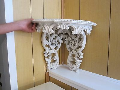 antique ornate wood corner shelf