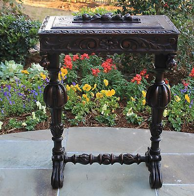 Antique French Oak Black Forest Hand Carved Lift Top Sewing Box Jewerly Chest
