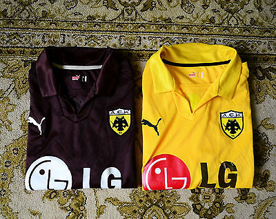 2008 - 2009 Aek Athens Home And Third Football Jersey Lot By Puma, Mens Xxl