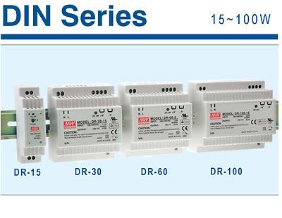Alimentatori Switching Meanwell DR-series DR-15 DR-30 DR-60 DR-100 DIN RAIL