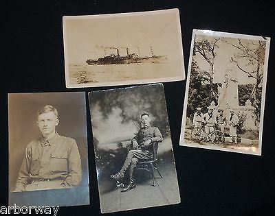3-Vintage 1910's Real Photo Post Cards & 1 Photo of WWI Images